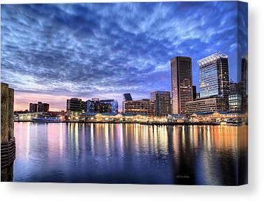 Baltimore City Inner Harbor Patapasco River Chesapeake Bay Skyline Sky Canvas Prints