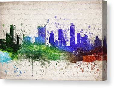 Austin Skyline Mixed Media Canvas Prints