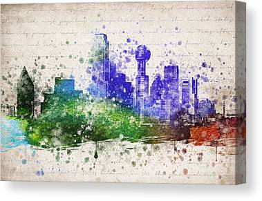 Dallas Skyline Mixed Media Canvas Prints