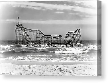 New Jersey Beach Coaster In Water Damage Canvas Prints