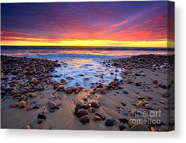 Sunset Pebbles Stones Beach Seascape Seascapes Karrara Hallett Cove Canvas Prints