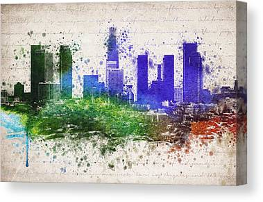 Los Angeles Skyline Mixed Media Canvas Prints