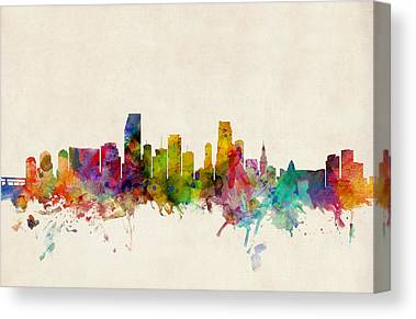Miami Skyline Canvas Prints