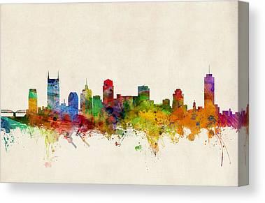 Nashville Skyline Digital Art Canvas Prints