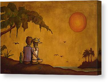 Tropical Sunset Paintings Canvas Prints