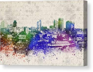 City Of Bridges Mixed Media Canvas Prints