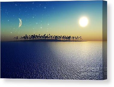 Sea Moon Full Moon Canvas Prints