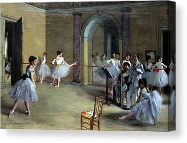 The Dance Foyer At The Opera On The Rue Le Peletier Canvas Prints