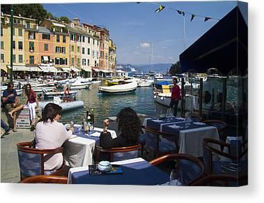 Portofino Cafe Photographs Canvas Prints
