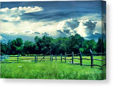 Pastoral Vineyards Digital Art Canvas Prints