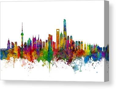 Shanghai Skyline Canvas Prints