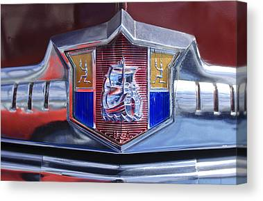 1949 Plymouth P-18 Special Deluxe Convertible Emblem Canvas Prints