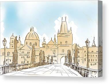 Prague Digital Art Canvas Prints