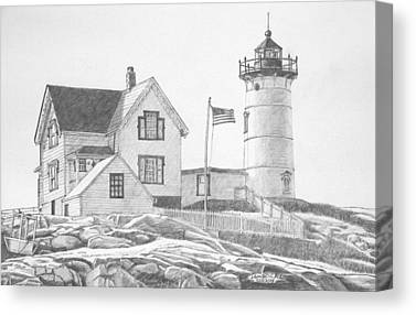 Cape Neddick Drawings Canvas Prints