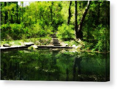 Nature Center Pond Digital Art Canvas Prints