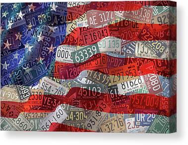 Waving Flag Mixed Media Canvas Prints