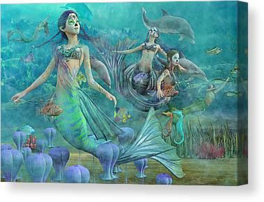 Angel Mermaids Ocean Digital Art Canvas Prints