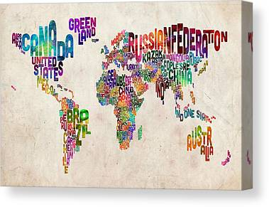 Font Map Digital Art Canvas Prints