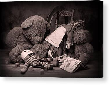 Dog And Toy Canvas Prints