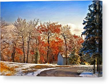Winter And Autumn Landscape Canvas Prints