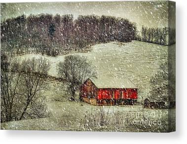 Red Barn In Snow Canvas Prints