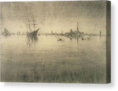 Boat Silhouette Drawings Canvas Prints