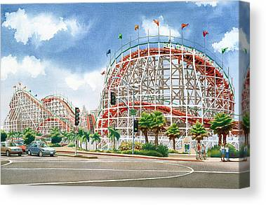 Roller Coaster Paintings Canvas Prints