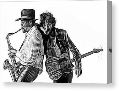 E Street Band Mixed Media Canvas Prints