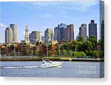 Boston Massachusetts Skyline Skyscrapers Building Office Towers Structures Canvas Prints