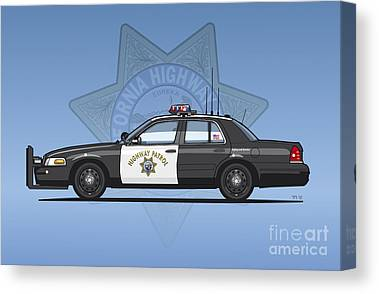 Police Cruiser Mixed Media Canvas Prints