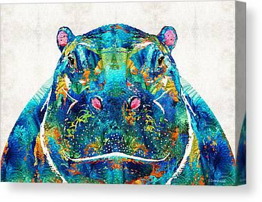 Hippopotamus Paintings Canvas Prints