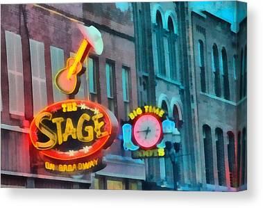 Downtown Nashville Paintings Canvas Prints