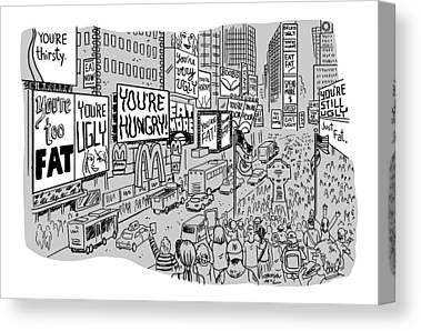 Times Square Drawings Canvas Prints