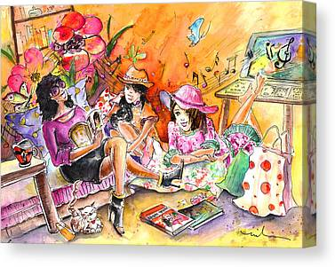 Women Together Drawings Canvas Prints