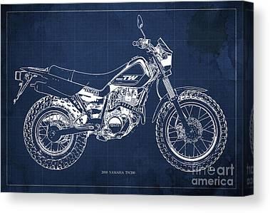 Moto Blueprint Canvas Prints