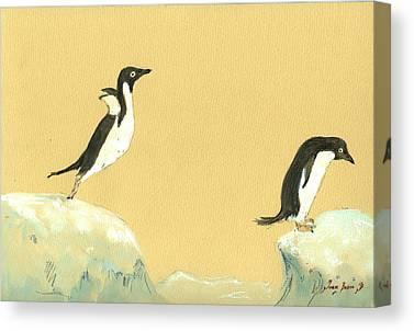 Penguin Paintings Canvas Prints