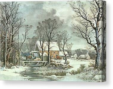 Winter In The Country Canvas Prints