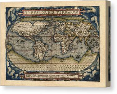 Map Of The World Drawings Canvas Prints