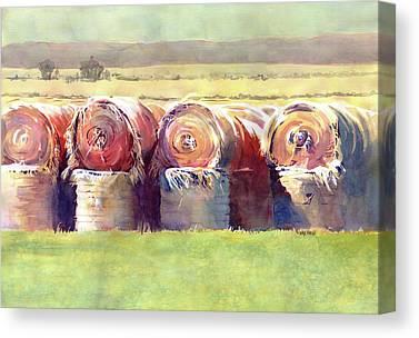 Hay Bales Paintings Canvas Prints
