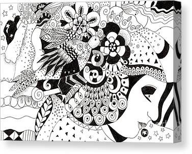 Organic Abstraction Drawings Canvas Prints
