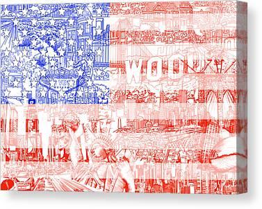 July 4 Digital Art Canvas Prints