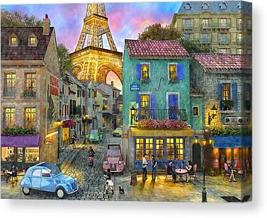 Evening Scenes Drawings Canvas Prints