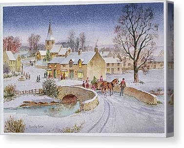Rural Snow Winter Horse And Cart Tree Evening Bridge Cross Christmas Canvas Prints