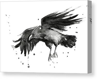 Black Bird.flying Paintings Canvas Prints