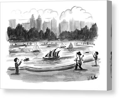 Toy Boat Drawings Canvas Prints