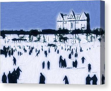 Ice Skating 19 Century Vintage Old Blue Sky Snow People Fun Winter Pastel Canvas Prints
