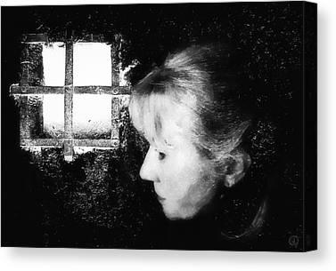 Light On Womans Face. Selfportrait Canvas Prints