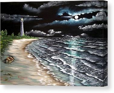 Cape Florida Lighthouse Mixed Media Canvas Prints