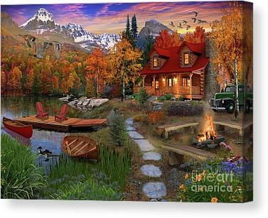 Log Cabins Digital Art Canvas Prints