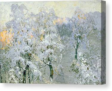 Trees In Wintry Silver Canvas Prints